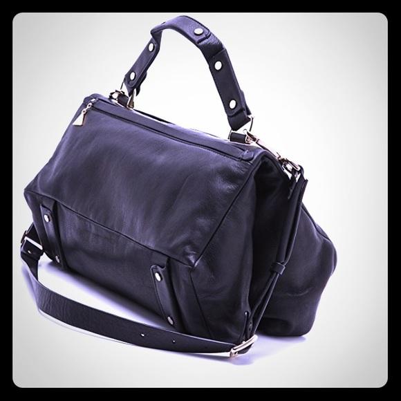 GOLDENLANE Handbags - GU GoldenLane Authenticated Black Leather Satchel
